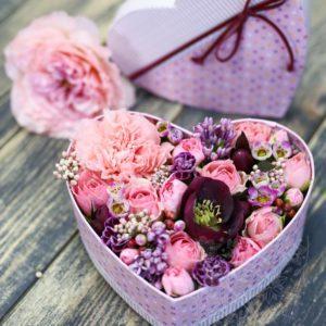 Коробочка сердце с цветами